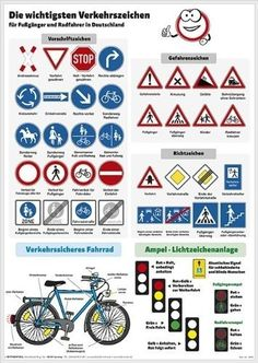 Important traffic signs for pedestrians and cyclists of Stiefel Eurocart GmbH Details for traffic-safe bicycle, traffic light system VERY LARGE: 97 X 137 cm laminated, wipeable Source by anja_leder History Lesson Plans, World History Lessons, Learning Maps, German Grammar, Art Education Lessons, Math Notes, German Language Learning, School Calendar, Learn German