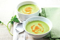 Chilled avocado soup with scallops