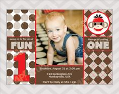 Sock Monkey First Birthday Party Invitation With Photo -Digital File- on Etsy, $12.00
