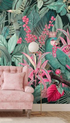 Are you the King of your house? Then show everyone with this beautiful King of Parrots wallpaper from Wallsauce.com! Full of tropical pinks and greens, this jungle wallpaper will confidently update the look of your home! #junglewallmural #parrotwallpaper Parrot Wallpaper, Tropical Wallpaper, Animal Wallpaper, Pink Wallpaper, Photo Wallpaper, Room Wallpaper, Mural Art, Wall Murals, Tropical Decor