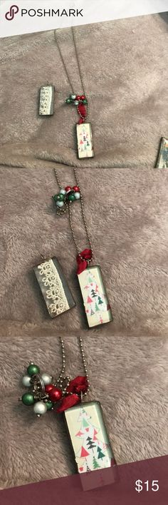 Two charm necklace Two charm necklace. Christmas charm and lace charm Jewelry Necklaces