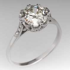 2 Carat Diamond Art Deco Engagement Ring Platinum Buttercup   $18,420