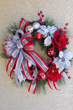 Lg Christmas Holiday Wreath Silver and Red by Designerwreaths2013