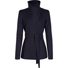 Reiss belted wrap collar jacket. Casper in stylish and versatile navy is a wool-rich hip-length jacket. This pulled-in style features a stylish tie belt, dramat...