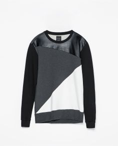 Image 6 of FAUX LEATHER GEOMETRIC SWEATSHIRT WITH SEAMS from Zara