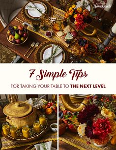 Spice up your Thanksgiving table. How about seasonal florals, produce, and a side of homemade cider served in etched glass goblets? Thanksgiving Tablescapes, Thanksgiving Decorations, Homemade Cider, Pop Up Tent, Shabby Chic Kitchen, Fall Table, Etched Glass, Autumn Theme, Autumn Inspiration