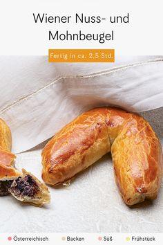 Nuss- und Mohnbeugel gibt es in jeder Wiener Bäckerei, die etwas auf sich hält. Für alle, die für das Germteig-Gebäck nicht nach Wien fahren können oder schon immer mal selbst Beugel füllen und formen wollten, haben wir dieses Rezept von Barbara van Melle