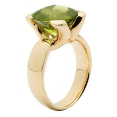 Jesse Peridot Gold Ring  | From a unique collection of vintage fashion rings at https://www.1stdibs.com/jewelry/rings/fashion-rings/