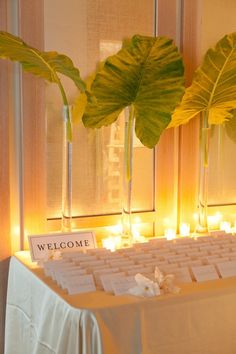 Palm leaves and candlelight decor.