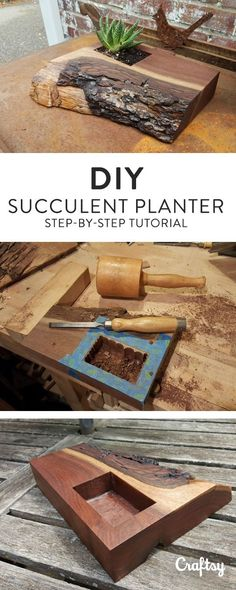 See how a leftover piece of black walnut wood is transformed into a unique DIY succulent planter — then try it yourself with some wood you have lying around! #woodworkingprojects