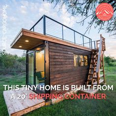 """""""Yellow & Blue"""" Shipping Container Home with a Rooftop Deck!, garden architecture roof deck """"Yellow & Blue"""" Shipping Container Home with a Rooftop Deck! Building A Tiny House, Tiny House Cabin, Tiny House Living, Tiny House Plans, Living Room, Tiny Home Floor Plans, Tiny Cabin Plans, Cheap Tiny House, Tiny House Trailer"""