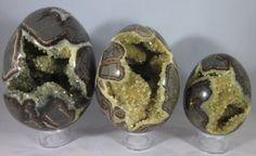 Premium Set of 3 Hollow Septarian Nodule Eggs from Utah