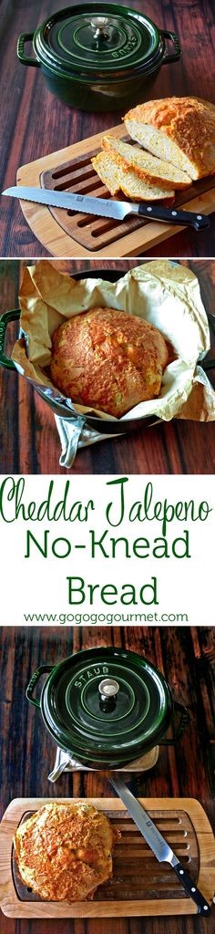 You can have fresh bread on the table for dinner- its easier than it sounds. This Cheddar Jalepeno No-Knead Bread makes it super simple! | Go Go Go Gourmet