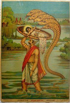 Vintage Print Vasudev with Child Krishna oleograph/lithoRavi Varma Press Kali Hindu, Hindu Art, Vintage Prints, Vintage Photos, Raja Ravi Varma, Litho Print, Ganesha Art, Indian Art Paintings, Indian Prints