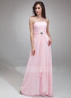 [US$ 108.99] A-Line/Princess Square Neckline Floor-Length Chiffon Bridesmaid Dress With Ruffle Crystal Brooch