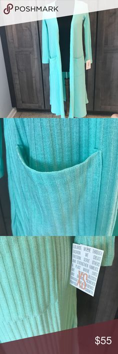 LuLaRoe Sarah New with tag. LuLaRoe Sarah duster cardigan. Size xs. Ribbed. Light mint green color. LuLaRoe Sweaters Cardigans
