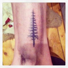 jack pine tree stick n poke tattoo handpoked dotwork pinetree