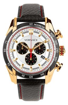 Versace+'V-Ray'+Chronograph+Leather+Strap+Watch,+44mm+available+at+#Nordstrom