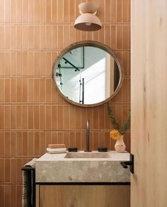 This bathroom designed by and styled by senior designer for featuring our Pinto Florish, has… Bathroom Red, Bathroom Interior, Bungalow Bathroom, Orange Bathrooms, Bathroom Sinks, Small Bathrooms, Washroom, Bathroom Ideas, Earthy Home