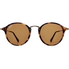 Ray-Ban RB2447 Round Fleck Sunglasses ($135) ❤ liked on Polyvore featuring accessories, eyewear, sunglasses, glasses, brown, brown sunglasses, round sunglasses, retro sunglasses, round tortoise sunglasses and round glasses