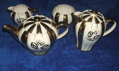 Cream And Gold English Teapot and Coffee Set English Teapots, Ebay Sale, Coffee Set, Cream And Gold, Earthenware, 1920s, Tea Pots, Vintage Items, Pottery