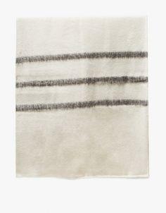 Sabana Wool Throw Stripes - White/Brown