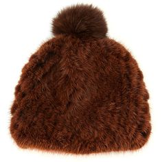 Pologeorgis Mink Fur Beanie Hat ($250) ❤ liked on Polyvore featuring accessories, hats, accessories hats, brown, beanie cap, beanie cap hat, pom beanie, skull beanie and cap hats
