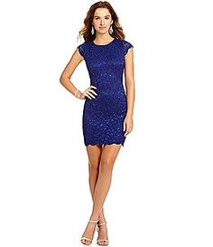 Jump Cap Sleeve Scalloped Lace Dress