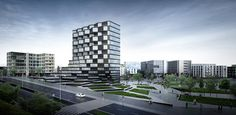 Paolo Venturella-Designed Office Building to Feature Rotating Parametric Pixels,Exterior rendering showing the rotating pixel facade. Image Courtesy of Paolo Venturella Architecture