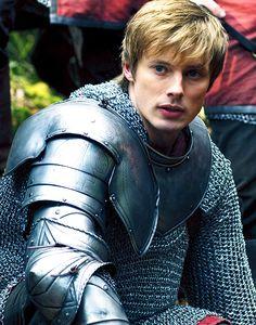 Bradley James on the set of the tv series  Merlin.