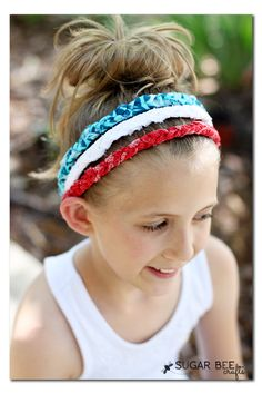 Red White Blue Braided Headbands - no sew! ~ Adorable!!!