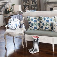 Cushions no on bench behind sofa make it like a second seating area