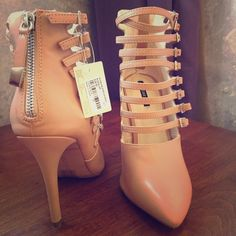Gorgeous Nude Forever 21 strappy bootie heel! Gorgeous Nude Forever 21 strappy bootie heel! New with tags-very cute and sexy! Would look great with a rolled up pair of boyfriend jeans! Back zip just adds to the awesome factor!!! Forever 21 Shoes Heels