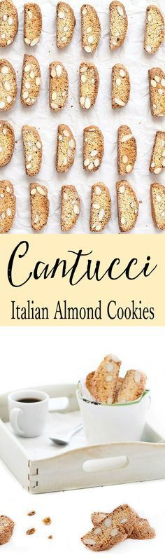 Cantucci are crunchy almond Italian cookies. They have no butter and no oil .feel good about eating more than one! Replace almonds with chocolate chips, hazelnuts, pistachios or dried fruits. The possibilities are endless. These cookies last for severa Italian Pastries, Italian Desserts, Italian Recipes, Italian Foods, Italian Cake, Cookie Desserts, Cookie Recipes, Dessert Recipes, Tea Cakes