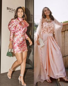 What does your wardrobe have more of, western or Indian looks? 💛 Engagement Dress For Female, Indian Engagement Dress, Engagement Dresses, Indian Look, Bridesmaid Outfit, Wedding Tips, Diva, Bollywood, Peach