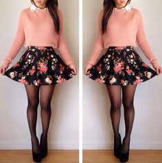 Outfit Idea | a Sweater Crop Top With A Floral Skater Skirt & Some Tights Underneath.