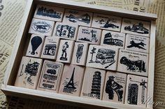 Vintage Paris Stamp Set