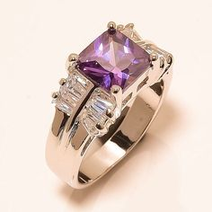 Amethyst, White Topaz 925 Sterling Silver Jewelry Ring 6