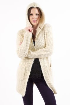 Don't like wearing a coat but love staying warm?!  Then you need this SUPER soft, hooded knit sweater!  Oversized and loose fit, hem comes to just above the knee.  Features, two front pockets, hood, and snap closure at neck. #cardigan