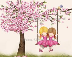 Children's art print Girls sisters room art print kids by jolinne I soooo want to get this for my girls! They would LOVE it!