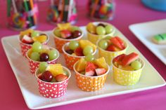 Use these colorful #cupcake #wrappers and fill them with fresh fruits at your baby shower. Healthy party snacks for kids (fruit in cute cups) - by Glorious Treats