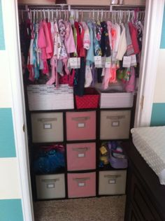 Project Nursery - Turquoise Striped and Pink Nursery Storage Bins- great idea for Savannah's closet