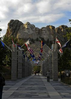 Late afternoon at Mount Rushmore National Memorial in South Dakota, USA -- reminds me of my sister. I have this exact picture... as I'm sure many do. :)