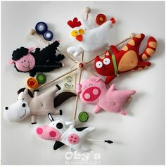 felt mobile, farm animals