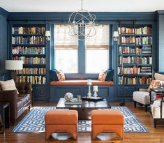 Blue color for Dining Room Bookshelves on west wall of dining room (from Park and Oak Interior Design)
