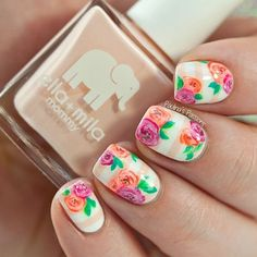 Pink and Peach Floral Nails