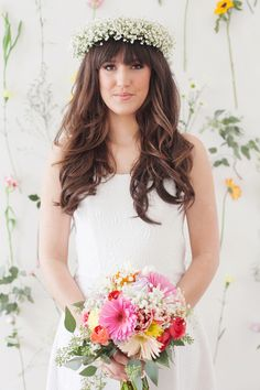 Cheerful Colorful Gerber Daisy Bouquet and a Bridal Crown of Babys Breath | Studio Amy Luna Photography | See More! http://heyweddinglady.com/peace-and-love-the-sweetest-60s-styled-shoot-ever/