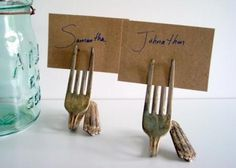old forks as name place cards