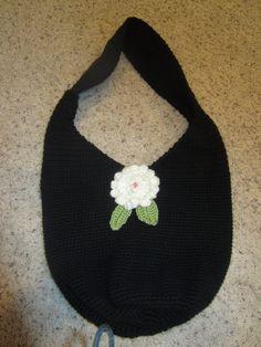 Large Crochet Black Bag Tote Purse Handbag by MonkeyCatBoutique, $30.00