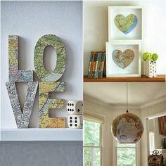 Ideias de decoracao para quem ama viagens! essas imagens estão em vários blogs de decoração